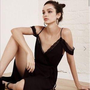 Reformation Eleanor Midi Wrap Dress Black Lace